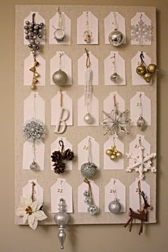 Ornament advent calendar idea. So genius! Every day closer to Christmas you put the ornament on the tree. Love that!