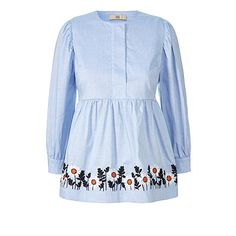 Chambray, Smocking, Orla Kiely, Blouse, Fabric, Cotton, Crafting, Embroidery, Clothes