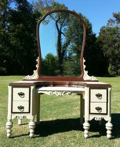 SOLDWhite Antique Vanity Dresser with Matching by ChaiseVerte $450