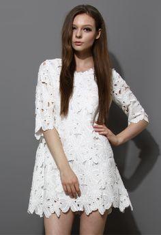 Full Flower Cut Crochet White Dress