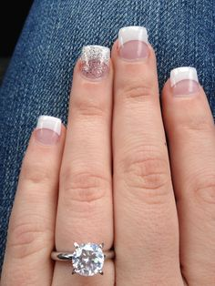 Wedding nails; something like this but no acrylics and ring finger more of a neutral sparkle or light pink sparkle