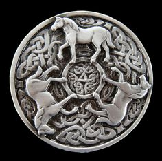CELTIC IRISH KNOT WESTERN HORSES RODEO BELT BUCKLE