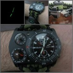 Amazon.com: Paracord Survival Watch Thermometer Tactical Compass Fire Starter Razor Green: Clothing