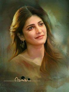 It's a portrait of Shruti Hassan. It's so beautiful. Watercolor Portrait Tutorial, Watercolor Portraits, Samantha Images, Paint Photography, Photography 2017, Photography Music, Photography Studios, Photography Tutorials, Wedding Photography