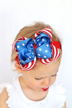 Boutique Double Layered All American Hair Bow with Headband
