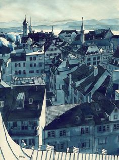 Zürich View from Sternwarte Urania. Blue Architectural Urban Drawings. By Rupert Taylor.