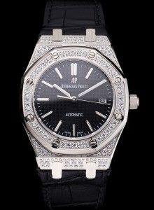 Swiss Audemars Piguet Royal Oak Black Dial Steel Case With Diamonds Black Leather Strap
