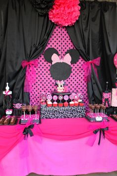 Party Printables-Minnie  FOOD LABELS Black and Pink Mouse Theme Birthday Collection - Krown Kreations. $4.99, via Etsy.