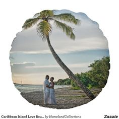 Great for your room decor the beautiful and romantic Caribbean Island Love Round Pillow. It is a beautiful photograph of a romantic couple under the Palm Tree during the beginning of Sunset in St. Croix US Virgin Islands in the Caribbean. This couple enjoyed the moment. Buy and keep it for yourself or give it as a gift of this couple showing true island romance next to the Caribbean Sea. copyright Denise Bennerson, Photographer