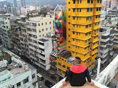 """OKUDA, """"Rainbow thief"""" in Hong Kong, China, 2016"""