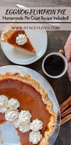 This post includes a simple homemade eggnog pumpkin pie filling recipe & a link to my flaky, all butter pie crust recipe. Both are very easy to make. Use Libbys pumpkin puree or your preferred brand! The holidays are so close & pie is the best dessert for your table. Get ready for some fun Thanksgiving & Christmas baking! Add a little whip cream on top to make a fancy, elegant, traditional dessert. Kids & adults will love. #holidaydesserts #christmasbaking #piecrustrecipe #pumpkinpie…