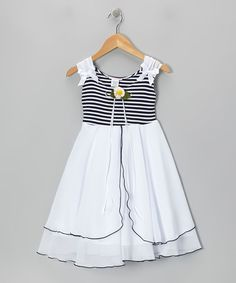 Look what I found on #zulily! Navy Blue & White Daisy A-Line Dress - Toddler & Girls #zulilyfinds