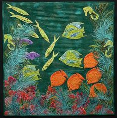 "New Barrier Reef , 25"" x 25"", by Pamela Druhen Fiber - Whole Cloth"