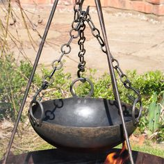 This Cooking Bowl from the Kadai range is ideal to use on firepits and open fires. The bowl is a huge 36cm in diameter to allow cooking of the biggest stews and casseroles and comes supplied with three ringed chains to allow the bowl to be suspended over a heat source. Great to use in conjunction with our fire bowls and tripod stands.