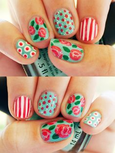 Cath Kidston inspired nails.  Normally, I don't like crazy patterned nails as I tend to prefer a single color look, but this is pretty darn cute.  I think I'd even have it done just for fun.