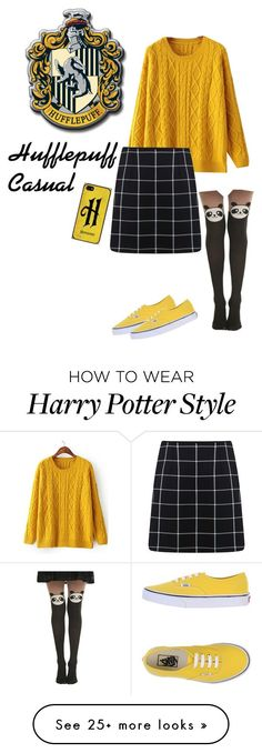 """Hufflepuff casual outfit"" by amypaul713 on Polyvore featuring Miss Selfridge, Vans, women's clothing, women, female, woman, misses, juniors, harrypotter and hogwarts"