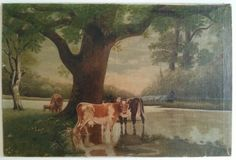 vintage cows painting | Reserved 100 Year Old Oil Painting Featuring Cows by the River