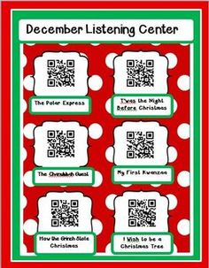 Instant Listening Center - Dec. QR Codes - Listen to Reading FREE