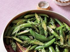 asparagus and sugar-snap toss