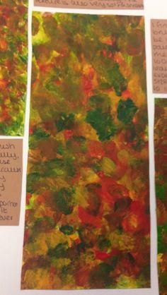 Mock GCSE Examination Preparation -Leaves using size 6 paintbrush and acrylic paint