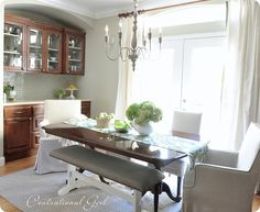 kates dining room table and cabinets BM Camouflage