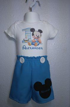 Baby Mickey Mouse cumpleaños primer equipo conjunto por ccjboutique