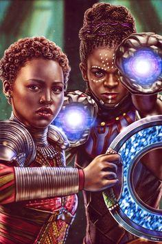 Klaws Of Wakanda — eddieholly: Nakia and Shuri - Black Panther Shuri Black Panther, Black Panther Marvel, Nakia Black Panther, Black Panther Art, Panther Print, Marvel Dc, Marvel Girls, Disney Marvel, Black Girl Art