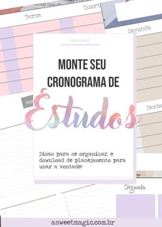 Cronograma de estudos + FREEBIE: com dificuldade na escola/faculdade? Planeje seu cronograma de estudos - Baixe agora o freebie! #cronograma #estudo #freebie #produtividade Study Organization, Bullet Journal School, Study Planner, You Better Work, Lettering Tutorial, Study Hard, Study Inspiration, Study Notes, Study Motivation