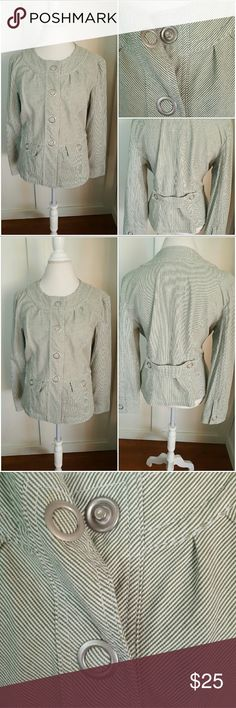 Live a Little XL Green and White Pinstripe Jacket Live a Little XL green and white pinstripe jacket. Snap down with large silver snaps. Long sleeves. Round neckline. Lace lining. Two front pockets. Pre-owned and in good condition. 98% Cotton 2% Spandex Live a Little  Jackets & Coats