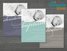 Modern Christian baby dedication, christening, or baptism photo invitation for your ] blessings from above. And as you dedicate them through