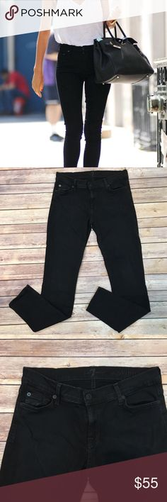 "7 For All Mankind Black Skinny Jeans 7 For All Mankind Black Skinny Jeans. Size 28. Waist laying flat 15""/ front rise 8""/ back rise 10""/ inseam 29"". (B002) 7 For All Mankind Jeans Skinny"