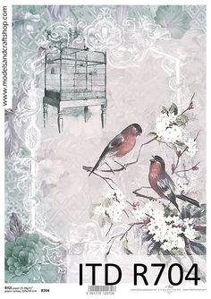 Decoupage Reispapier Vintage Blumen Größe A4 r704