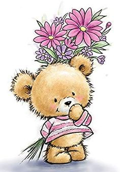 Wild Rose Studio Clear Stamp - Teddy With Flowers now available at The Rubber Buggy Tatty Teddy, Art D'ours, Cute Teddy Bears, Bear Art, Cute Illustration, Clear Stamps, Cute Drawings, Cute Cartoon, Cute Pictures