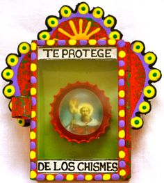 Protection from gossip - saintly Mexican matchbox nicho.©Mexico Import Arts Australia