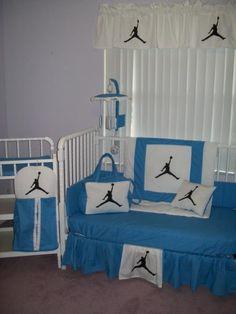 MICHAEL JORDAN Blue and White Crib Bedding Set, Mobile, Diaper Bag - $400 : Custom bedding for kids, toddlers, infants, small children
