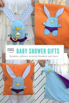 Baby shower gift, buy individualy or as a set: baby blankets, security blankets, pillows and plushies