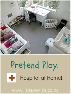 Make a Pretend Play Hospital at Home! Perfect for imaginative play Dramatic Play Themes, Dramatic Play Area, Child Life Specialist, Pretend Play, Role Play, Play Based Learning, Play Centre, Toy Rooms, Creative Play