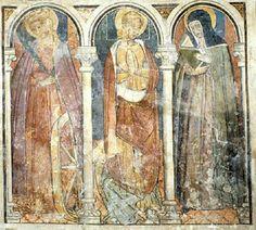 Sainte Catherine d'Alexandrie, sainte Marguerite et sainte Claire. Fresque. Chapelle Sainte-Claire. Eglise Saint-Sébastien. Venanson. Comté de Nice. XIVe.