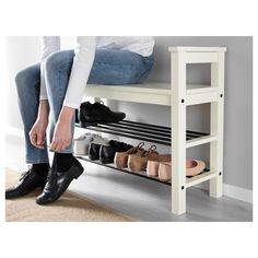 """IKEA - HEMNES Bench with shoe storage Bench with shoe storage. Size: 33 """" Have a seat while putting on your shoes. The simple, classical design with a touch of tradition looks great with other furniture in the HEMNES series. Shoe Storage White, Front Door Shoe Storage, Bench With Shoe Storage, Ikea Shoe Storage, Shoe Organizer Entryway, Shoe Rack Bench, Storage Benches, Shoe Rack By Front Door, Small Shoe Bench"""