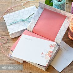 Learn how to make a gift box for note cards with our step by step tutorial and free template. Perfect for a hostess or bridesmaid gift.