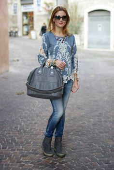 LOVE this look from head to toe!   Denim and lace worn by over 40 Styleblazer Vale from Fashion and Cookies