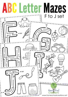 Alphabet Mazes - Letters F to J