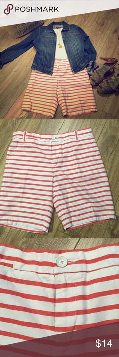 NWOT Gap Boyfriend Roll-Up khakis red/stripe NWOT Gap Boyfriend Roll-Up khakis size 2.  Great red and white stripe.  Can we worn rolled up.  Button closure, zipper fly.  Angled side pockets with slot pockets on one side.  Back slit pockets.  Loose and relaxed style. GAP Shorts Bermudas