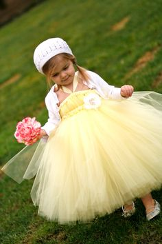 Sweet Yellow Tutu Dress  for Flower Girls by littledreamersinc, $60.00