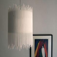 plastik kunst minimalistische hängeleuchte strohhalme weiß