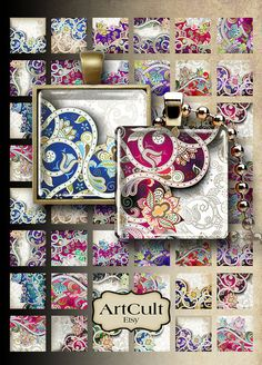ORNATE FLOWERY - inch and inch size printable square images Digital Collage Sheet for pendants magnets bezels charms paper craft.