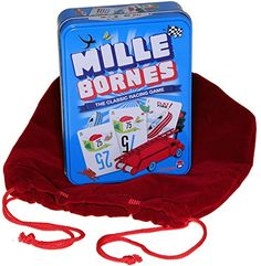 Mille Bornes Card Game in Colorful Tin _ Bonus RED Velvet...