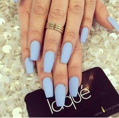 Matte baby blue nails - stilleto nails
