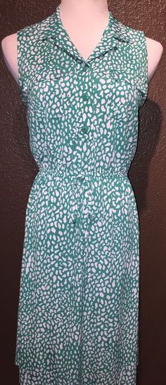 Valerie Bertinelli Green White Shirt Dress 8 | eBay