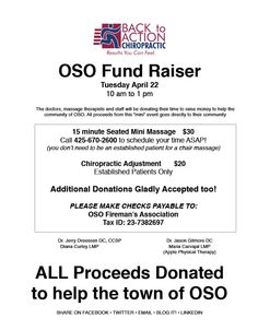 The Doctors and Massage Therapist will be donating their time to raise money for the victims of the Oso Landslide next Tuesday 4/17/14 from 10am to 1pm. All proceeds from this event goes directly to their community. Please call 425-670-2600 to RSVP. #Oso